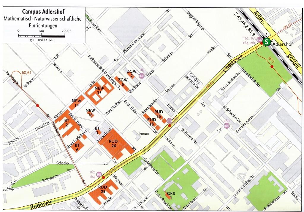 Lageplan Adlershof mit Gebäudekürzeln